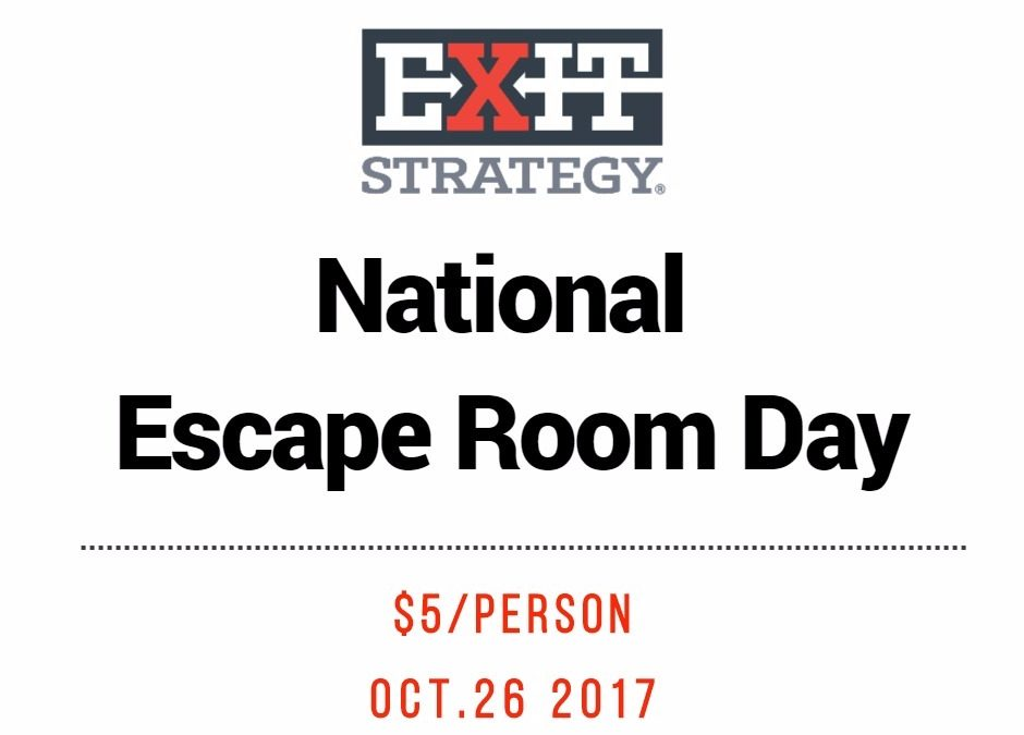 National Escape Room Day is on October 26th 2017